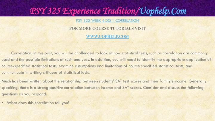 PSY 325 Experience Tradition/