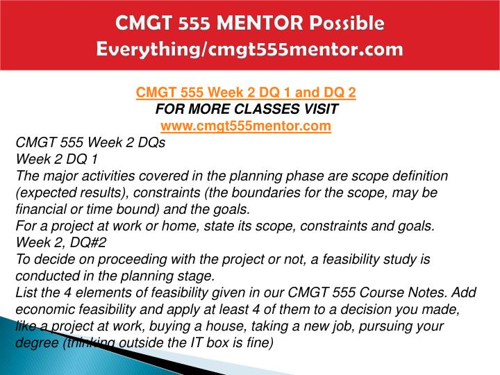 CMGT 555 MENTOR Possible Everything/cmgt555mentor.com