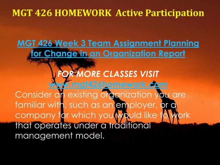 MGT 426 HOMEWORK  Active Participation