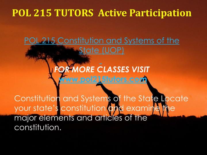 POL 215 TUTORS  Active Participation