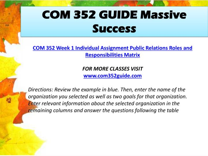 COM 352 GUIDE Massive Success