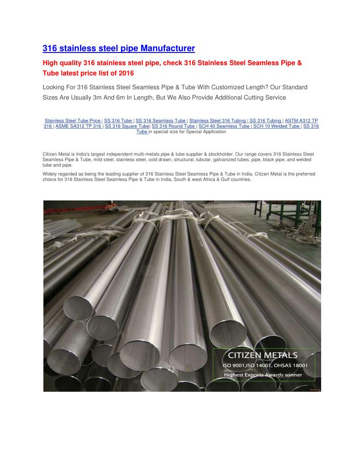 316 stainless steel pipe Manufacturer