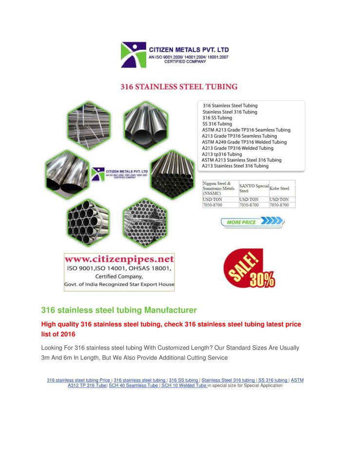 316 stainless steel tubing Manufacturer