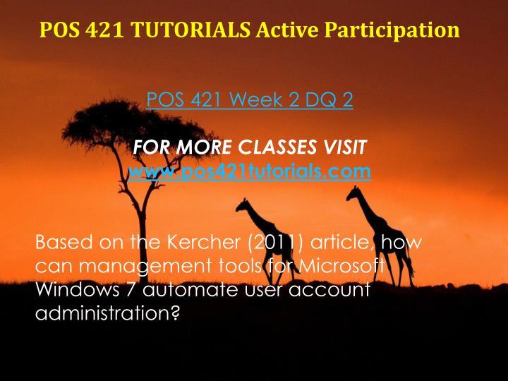 POS 421 TUTORIALS Active Participation