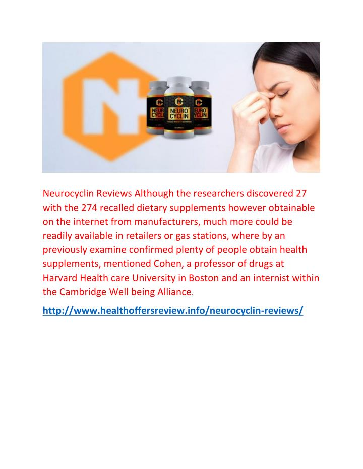 Neurocyclin Reviews Although the researchers discovered 27