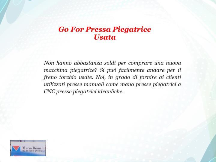 Go For Pressa Piegatrice Usata