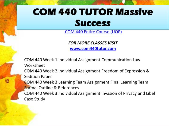 COM 440 TUTOR Massive Success