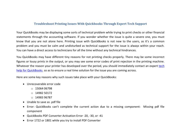 Troubleshoot Printing Issues With Quickbooks Through Expert Tech Support