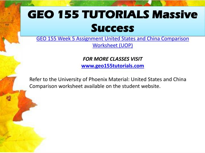 GEO 155 TUTORIALS Massive Success