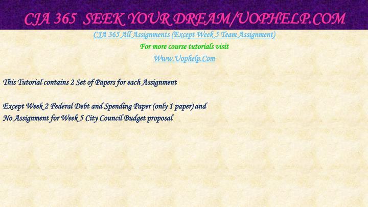 CJA 365  Seek Your Dream/