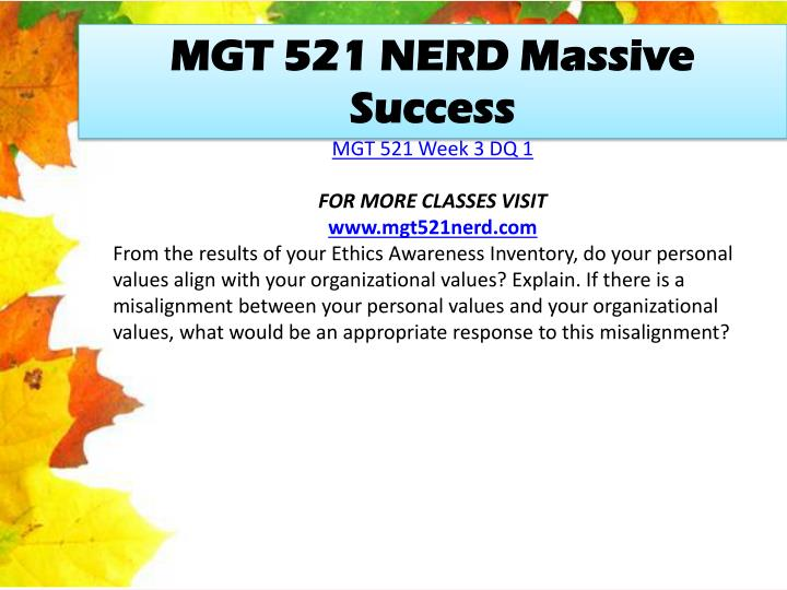 MGT 521 NERD Massive Success