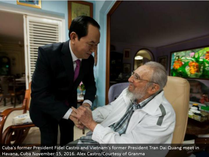 Cuba's previous President Fidel Castro and Vietnam's previous President Tran Dai Quang meet in Havana, Cuba November 15, 2016. Alex Castro/Courtesy of Granma