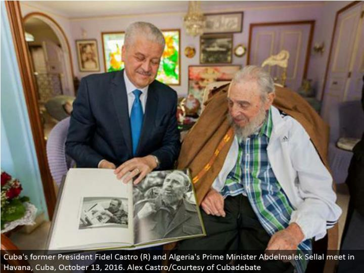 Cuba's previous President Fidel Castro (R) and Algeria's Prime Minister Abdelmalek Sellal meet in Havana, Cuba, October 13, 2016. Alex Castro/Courtesy of Cubadebate
