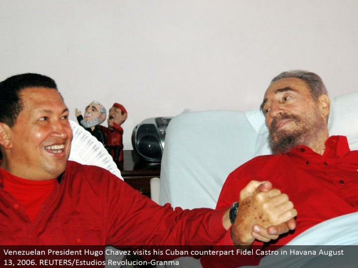 Venezuelan President Hugo Chavez visits his Cuban partner Fidel Castro in Havana August 13, 2006. REUTERS/Estudios Revolucion-Granma