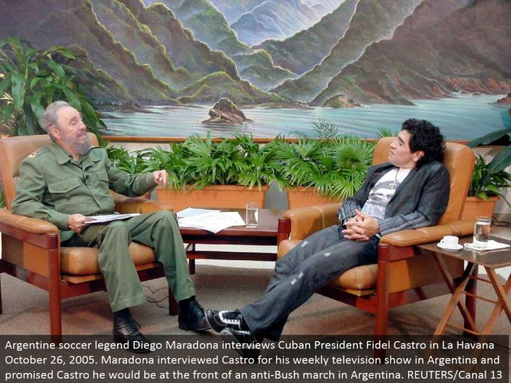 Argentine soccer legend Diego Maradona interviews Cuban President Fidel Castro in La Havana October 26, 2005. Maradona talked with Castro for his week by week network show in Argentina and guaranteed Castro he would be at the front of a hostile to Bush walk in Argentina. REUTERS/Canal 13