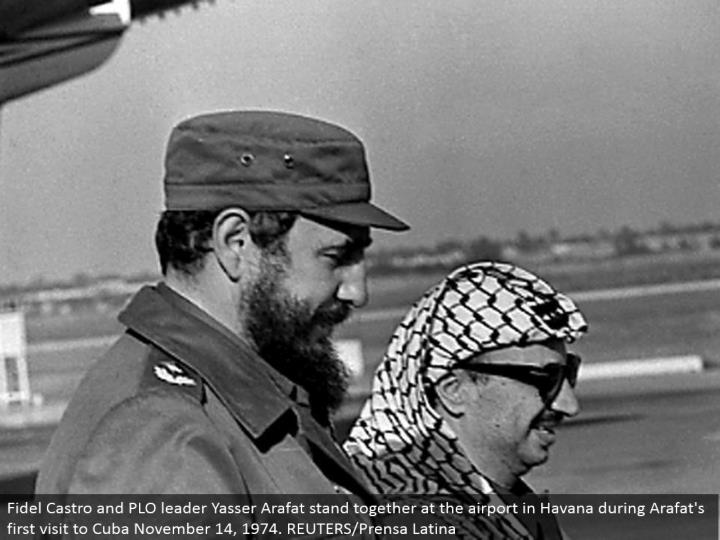 Fidel Castro and PLO pioneer Yasser Arafat stand together at the air terminal in Havana amid Arafat's first visit to Cuba November 14, 1974. REUTERS/Prensa Latina