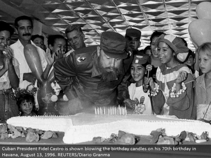 Cuban President Fidel Castro is demonstrated blowing the birthday candles on his 70th birthday in Havana, August 13, 1996. REUTERS/Diario Granma