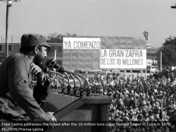 Fidel Castro addresses the group after the 10 million tons sugar collect started in Cuba in 1970. REUTERS/Prensa Latina