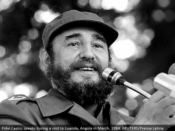 Fidel Castro talks amid a visit to Luanda, Angola in March, 1984. REUTERS/Prensa Latina
