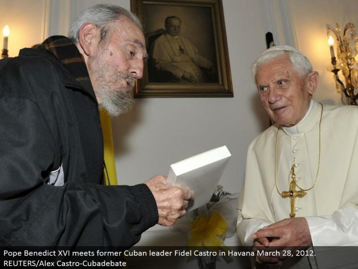 Pope Benedict XVI meets previous Cuban pioneer Fidel Castro in Havana March 28, 2012. REUTERS/Alex Castro-Cubadebate