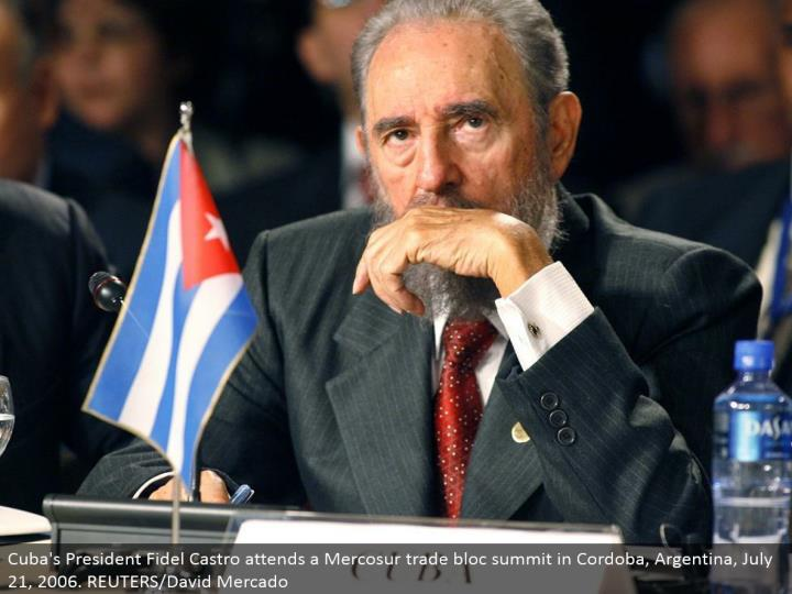 Cuba's President Fidel Castro goes to a Mercosur exchange alliance summit in Cordoba, Argentina, July 21, 2006. REUTERS/David Mercado