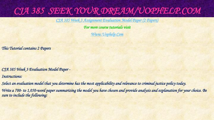 CJA 385  Seek Your Dream/