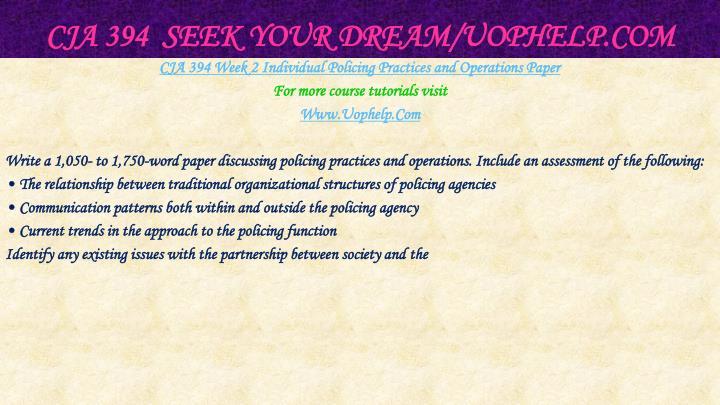 CJA 394  Seek Your Dream/