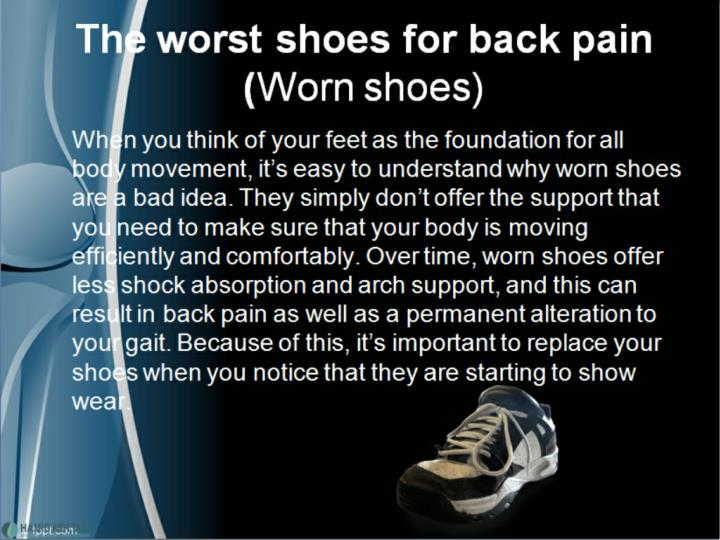 The shoes you wear may be hurting your back