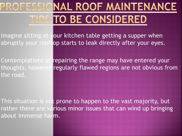 Professional Roof Maintenance Tips to be considered