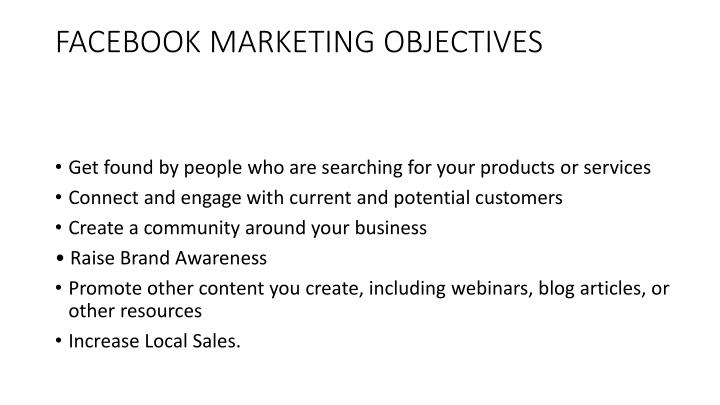 Facebook marketing objectives