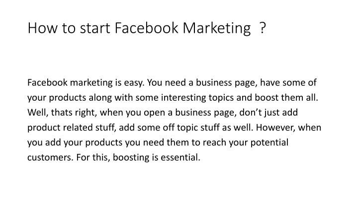 How to start Facebook Marketing  ?