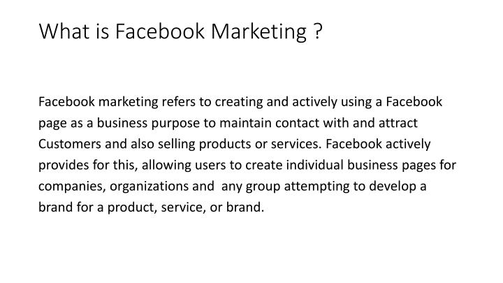 What is Facebook Marketing ?
