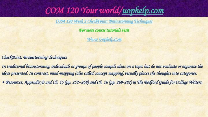 COM 120 Your world/