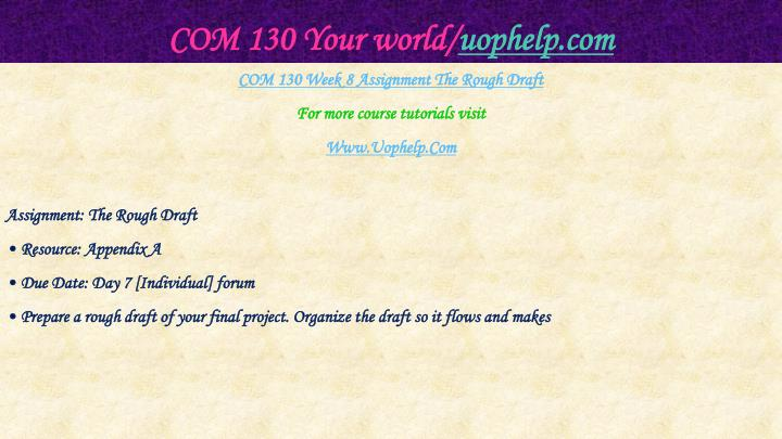COM 130 Your world/