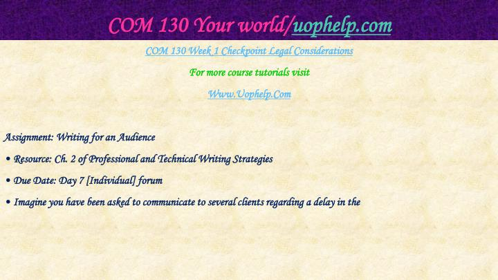 Com 130 your world uophelp com2