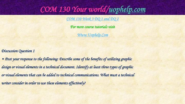 COM 130 Your world/