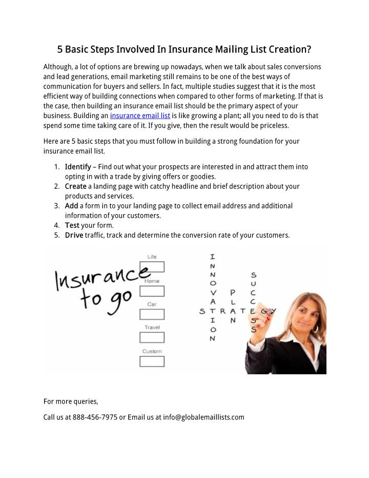 5 Basic Steps Involved In Insurance Mailing List Creation?