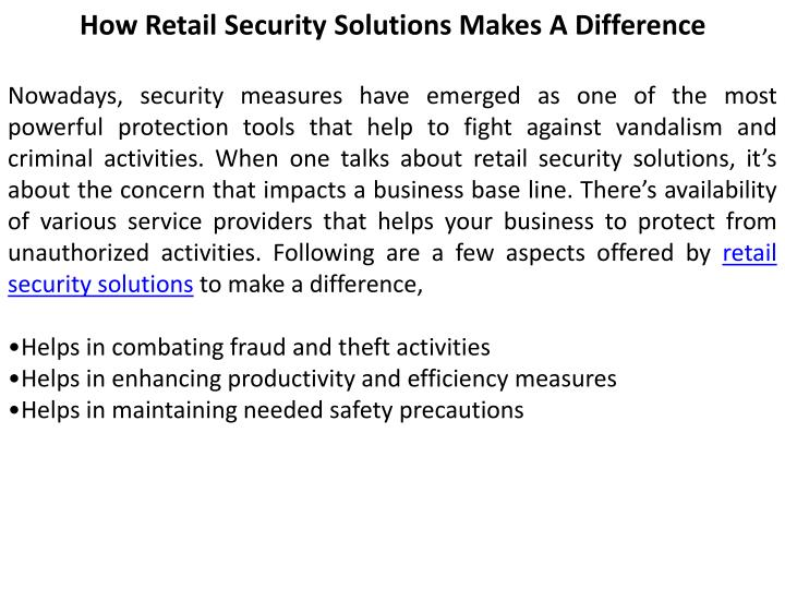 How Retail Security Solutions Makes A Difference