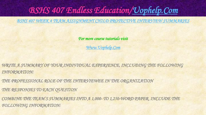 BSHS 407 Endless Education/