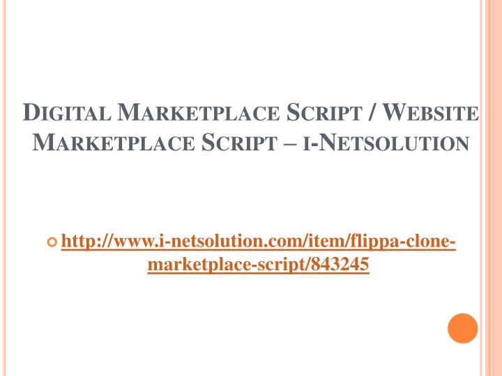 Digital marketplace script website marketplace script i netsolution