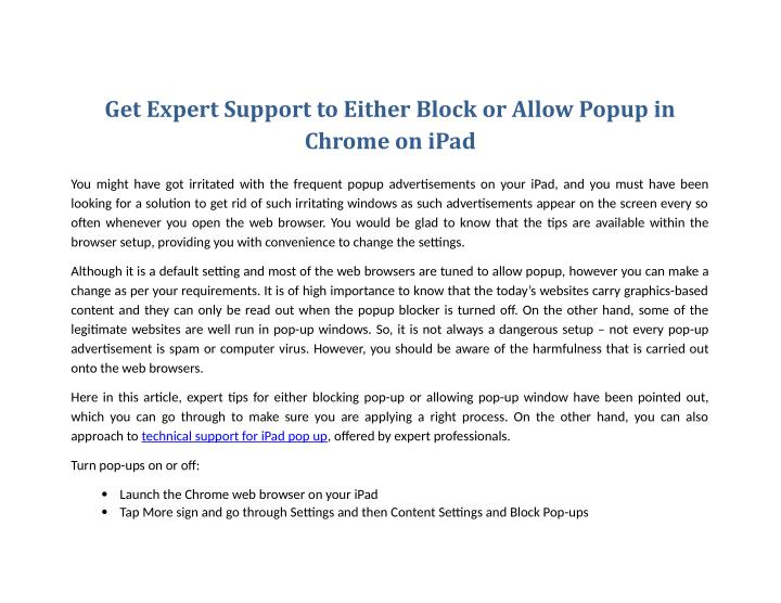 Get Expert Support to Either Block or Allow Popup in