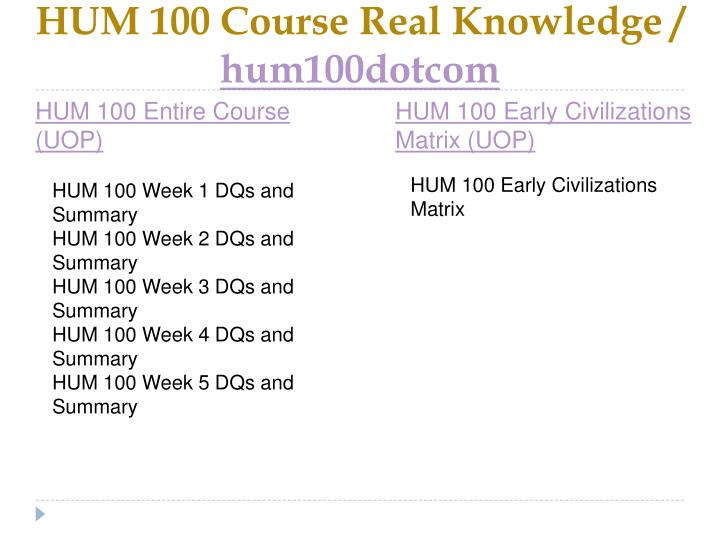 Hum 100 course real knowledge hum100dotcom1