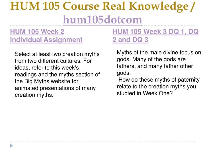 HUM 105 Course Real Knowledge /