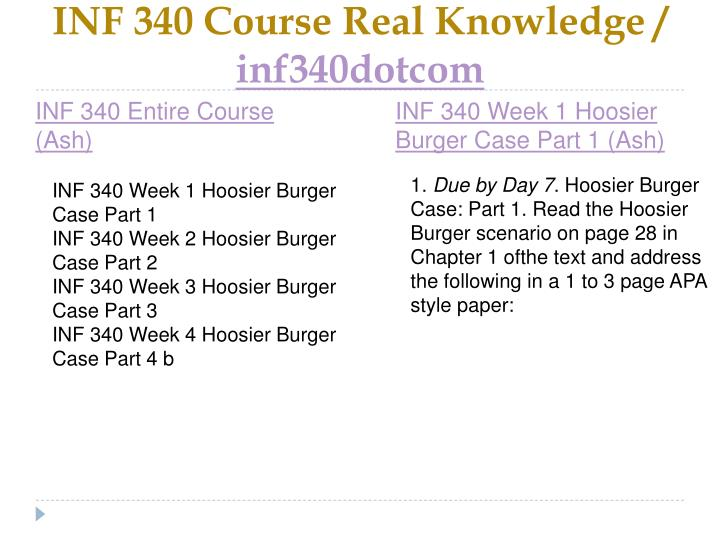 Inf 340 course real knowledge inf340dotcom1