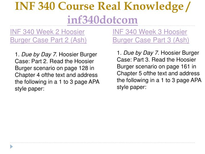 Inf 340 course real knowledge inf340dotcom2