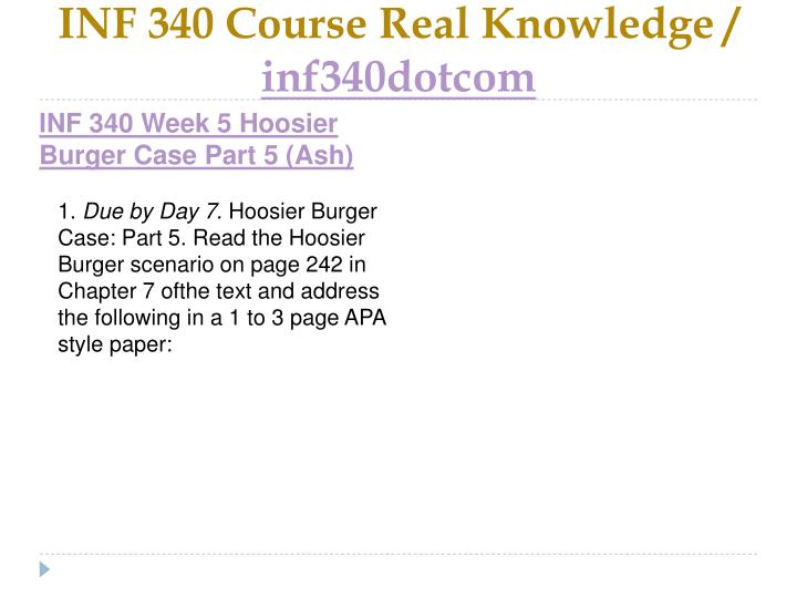 INF 340 Course Real Knowledge /