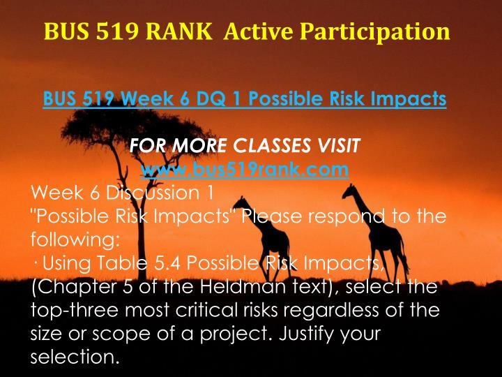 BUS 519 RANK