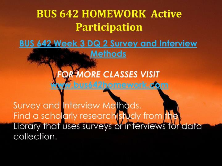 BUS 642 HOMEWORK