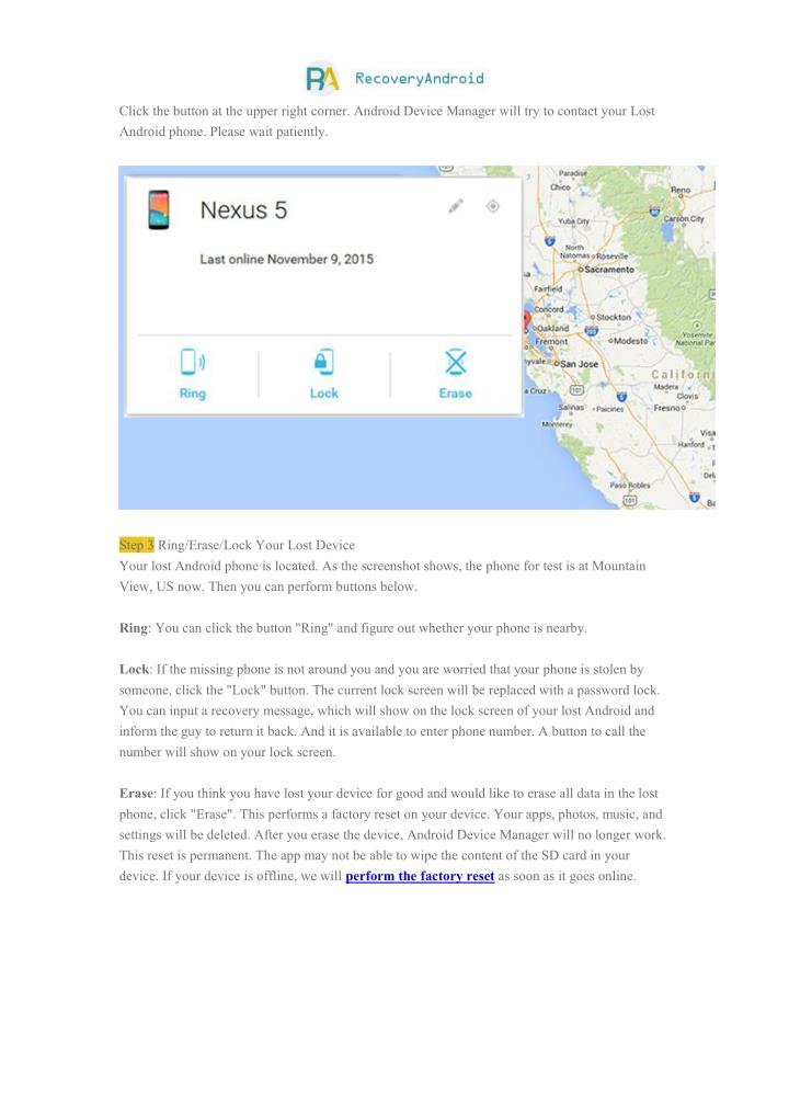 Click the button at the upper right corner. Android Device Manager will try to contact your Lost