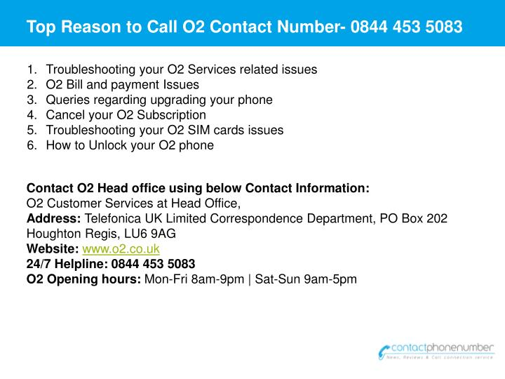 Top Reason to Call O2 Contact Number-